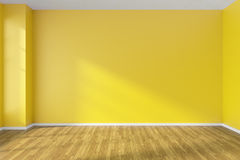 Empty room with yellow walls and wooden parquet floor. Empty room with hardwood parquet floor, yellow walls and sunlight from window on the wall, minimalist Stock Photos