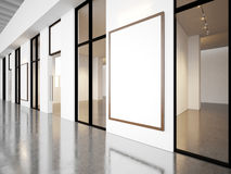 Empty rooms in contemporary gallery with blank. Frames. Horizontal Stock Photos