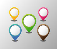 Empty round 3D pointers. Set of 6 empty round 3D pointers Royalty Free Stock Image