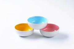 Empty round bowls Stock Photos