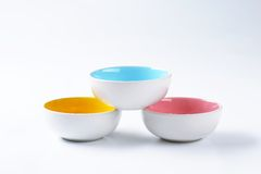 Empty round bowls Stock Image