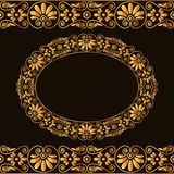 Empty round frame and borders. Greek traditional stylization. In gold color isolated on dark background. Vector illustrations Royalty Free Stock Photos