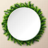 Empty round frame of christmas tree twigs. Christmas template with pine branches. Qualitative vector (EPS-10) layout for new year's day, christmas, winter Royalty Free Stock Photo