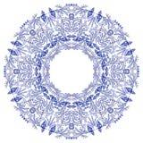 Empty round frame gzhel style. Blue flower mandala. vector illustration