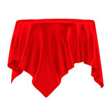 Empty round red table cloth Royalty Free Stock Photography