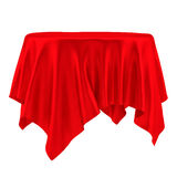 Empty round red table cloth Stock Photos