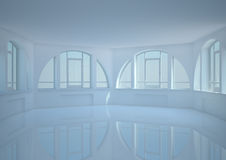 Empty round room with big arched windows Royalty Free Stock Photo