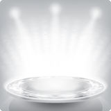 Empty round shelf for exhibition.3d. Sparkle facet. Stock Image