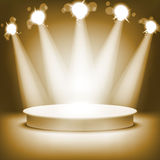 Empty round shelf gold exhibition 3d. Eps10. podiums Royalty Free Stock Photography