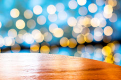 Empty round table with blue bokeh blur background,Template mock Royalty Free Stock Photo