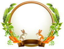 An empty round templates with plants and animals Royalty Free Stock Photo