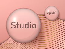Empty round transparent balls, studio spaces on a pink background with golden stripes. Free space for the presentation of your pro stock illustration