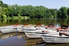 Empty row boats at a lake Stock Photography
