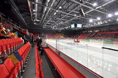 empty rows along the ice arena before world cup match between hockey teams of romania and ukraine division i group b april Royalty Free Stock Photography