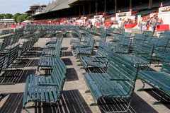 Empty rows of benches, early morning at the Saratoga Racetrack,Saratoga New York,2014 Royalty Free Stock Images