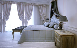 Empty royal bedroom in neoclassic design. 3D render Royalty Free Stock Image