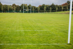 Empty rugby pitch Stock Images