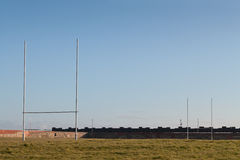 Rugby Pitch. An Empty Rugby Pitch on a Sunny Day Royalty Free Stock Photo