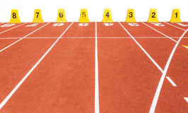 Empty running track with lane numbers on white background Royalty Free Stock Images