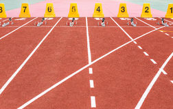 Empty running track texture with lane numbers Stock Photography
