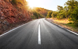 Empty rural asphalt highway perspective Royalty Free Stock Image