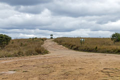 Empty Rural Dirt Road Leading Through Dry Winter Grassland Royalty Free Stock Photos