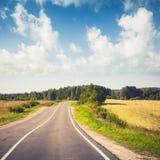 Empty rural highway under cloudy sky Stock Photos
