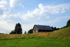 Empty rural house. Abondoned old  wooden house in Lithuanian village Stock Image