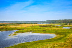 Empty Russian landscape. Sorot river in the summer day. Empty rural Russian landscape. Sorot river in the summer day Royalty Free Stock Photos