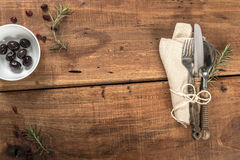 Empty Rustic Old Restaurant Table With Cuttlery Stock Image