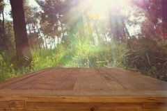 Empty rustic table in front of dreamy bokeh countryside background Royalty Free Stock Images