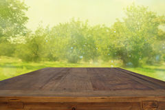 Empty rustic table in front of dreamy bokeh countryside background. product display and picnic concept. Stock Photography