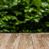 Empty rustic wood table top on blurred parsley  background in th Royalty Free Stock Image