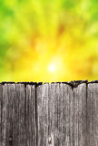 Empty rustic wooden board with abstract summer background Stock Photos