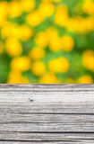 Empty rustic wooden board with abstract summer background Royalty Free Stock Photos