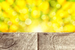 Empty rustic wooden table with abstract spring background Royalty Free Stock Image