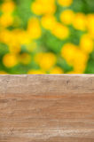 Empty rustic wooden table with abstract summer background Royalty Free Stock Images