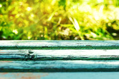 Empty rustic wooden table with abstract summer background Royalty Free Stock Photo