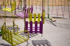 Empty rusting carousel seat stock images