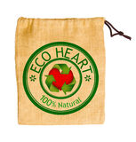 Empty sack bag recycle with sign recycle and red heart isolated Royalty Free Stock Image