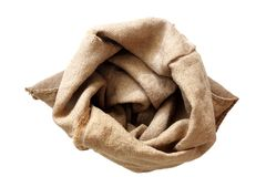 Empty sack isolated on white Royalty Free Stock Photos