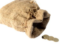 Empty sack, last change, coins Royalty Free Stock Photography