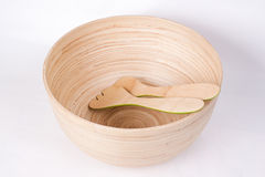Empty Salad Bowl. A traditional bamboo salad bowl isolated Stock Photography