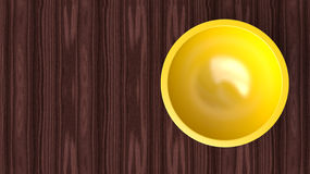 Empty salad yellow bowl on wooden table Royalty Free Stock Images