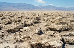 The empty salt pan of Devil's Golf Course in Death Valley, Calif Royalty Free Stock Images