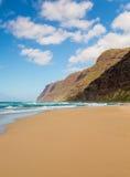 Empty sand and cliffs Polihale beach Stock Photos