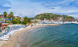 Empty sandy beach of Lacco Ameno, Ischia island Stock Photography