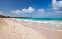 Empty sandy beach landscape. Atlantic ocean coast Royalty Free Stock Photography