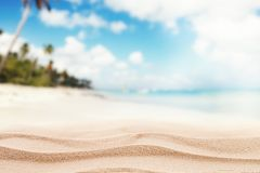 Empty sandy beach with sea. Free space for text or product placement Royalty Free Stock Photos