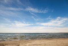Empty sandy coast of Baltic Sea Stock Photo